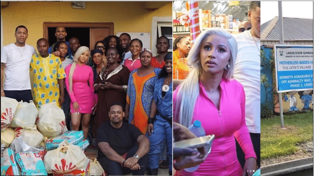 Cardi B storms Lagos supermarket, buys provisions worth millions of naira as she donates to Lekki orphanage