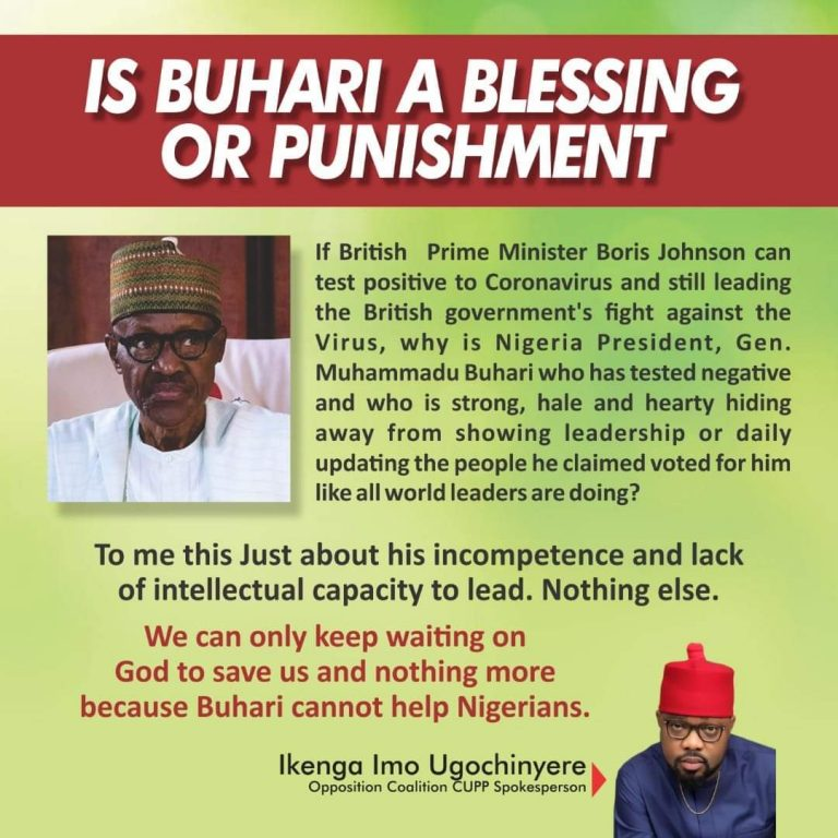 COVID-19: CUPP, PDP Berate Buhari For 'Failing' to Update, Douse Tension of Nigerians