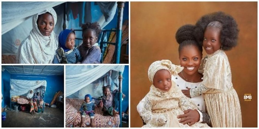 They are so adorable ! – Checkout new photos of woman with blue eyes and her daughters who were abandoned by their father