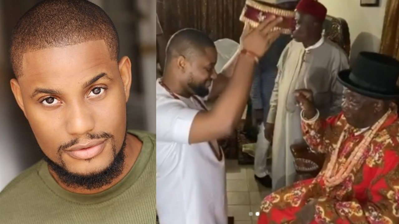 Nollywood actor, Alex Ekubo honoured with a chieftancy title in Imo state | Video