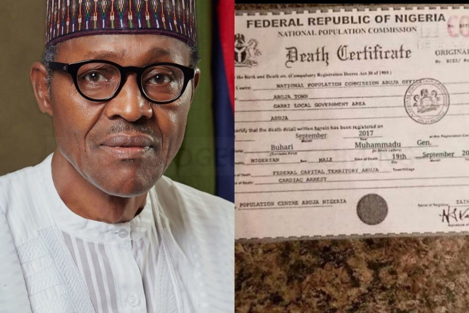Alleged Death Certificate Of President Buhari Leaked Online (Photo)