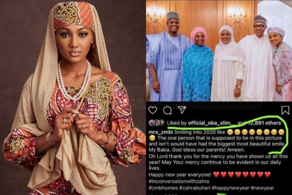 SEE Rare Photo Of Zahra Buhari Confirming The Death Of Her Father, Muhammadu Buhari In 2019
