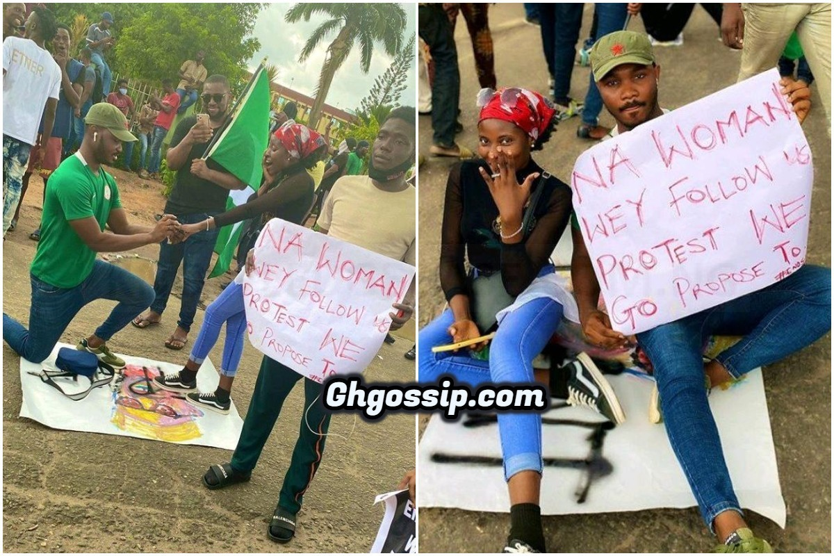 """""""Protest Ground Turn Hook Up Ground"""" -Reactions As Guy Proposes To A Lady During SARS Campaign"""
