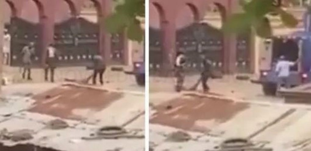 Horrifying Video Of Alleged Police Officials Dragging Dead Bodies Out Of The Kings Palace In Ogbomoso