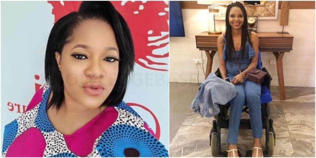 """""""She wasn't born like this"""" – Toyin Abraham shares story of how policemen made her friend, Adenike disable – Here is how it happened (Photos)"""