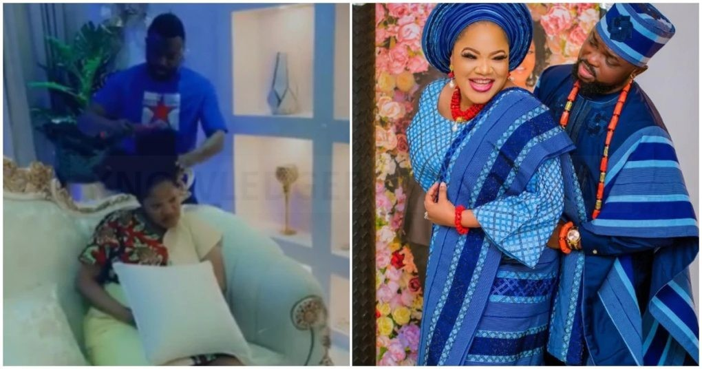 Love in the air: Actor Kolawole Ajeyemi makes wife Toyin Abraham's hair in cute video.