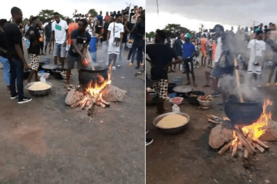 End SARS Protesters Block Highway To Cook Jollof Rice In Edo (PHOTOS)