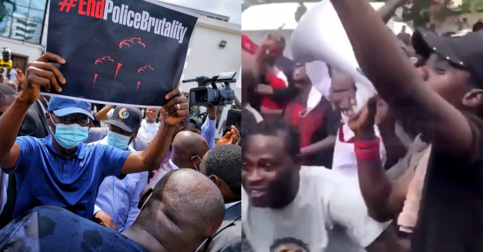 """#EndSARS Protesters Lose Their Cool, Sings Davido's """"FEM"""" To Gov. Sanwo-Olu As He Addressed Them At Alausa (VIDEO)"""