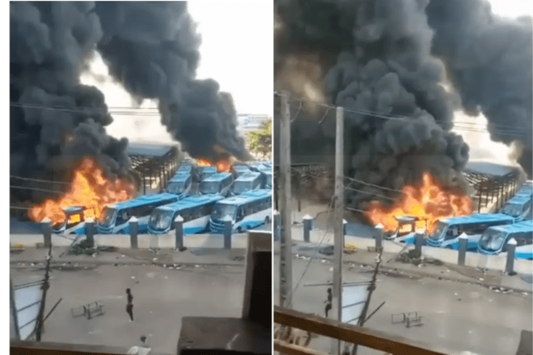 BREAKING; Angry Youth Set BRT Buses Ablaze After Two People Die In Oyingbo, Lagos (VIDEO)