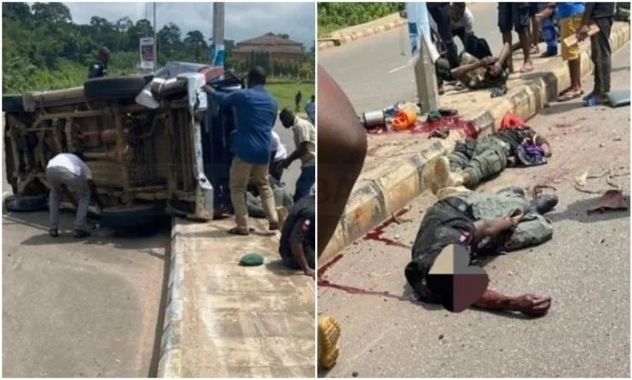 One police man dead, others severely injured in Akure ghastly accident |disturbing photo
