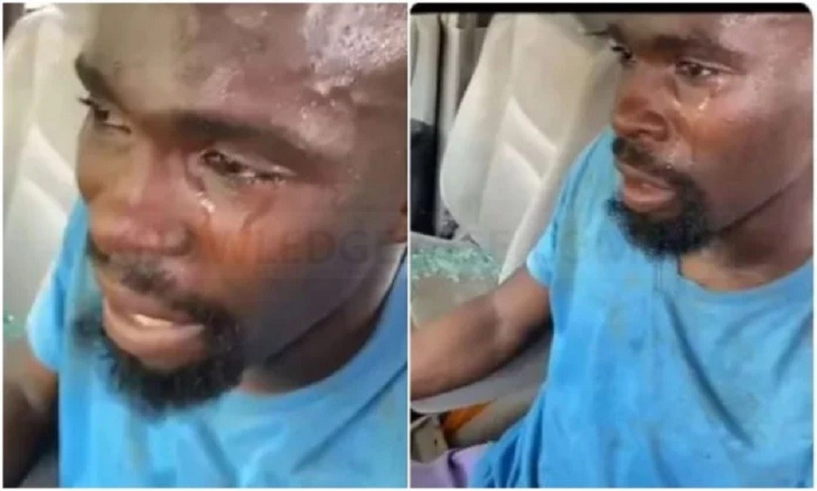 Man sheds hot tears after #ProSARS thugs destroyed his car in Abuja (Video)