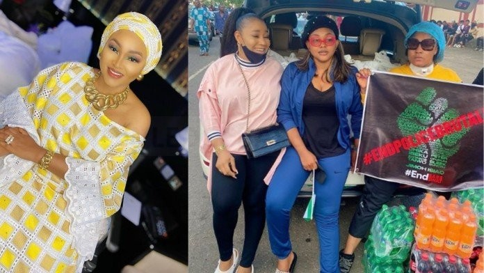 Nollywood actress, Mercy Aigbe feeds thousands at Lagos #EndSars protest