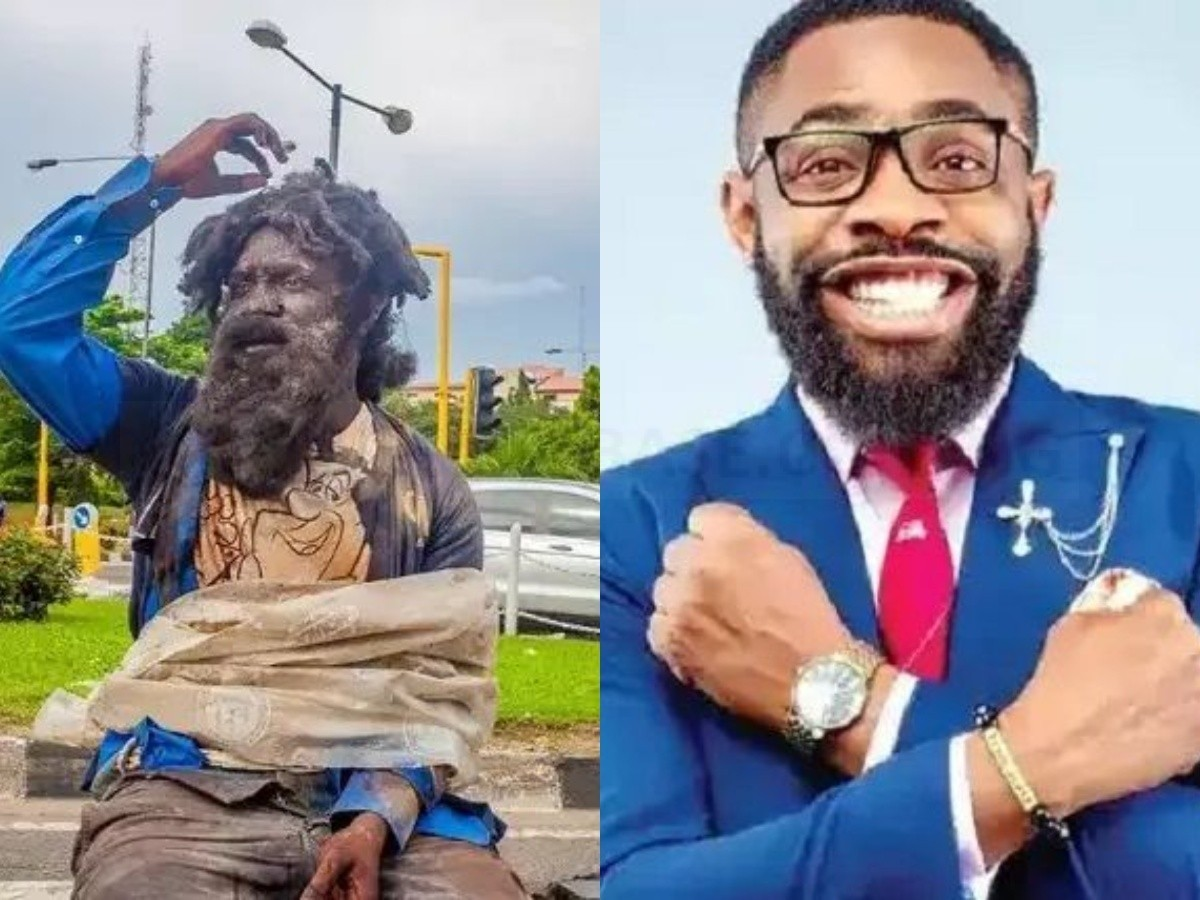 Photos of Woli Arole dressed as a mad man and went into the street of Lagos to seek for arms near shoprite.