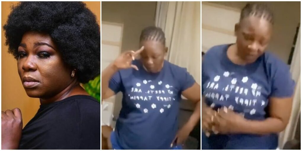 Watch the Moment Nollywood Actress, Ada Ameh stopped crying at midnight after burying her daughter, to dance to her favourite Patoranking song (VIDEO)