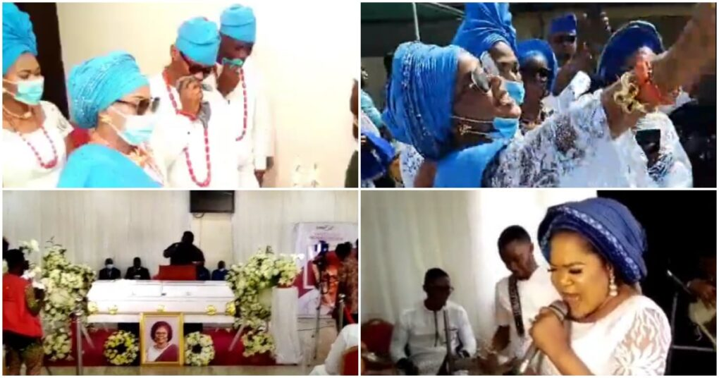 Toyin Abraham, Dayo Amusa lead praise sessions in church as Iyabo Ojo buries her mother today – Watch Videos from the Funeral ceremony
