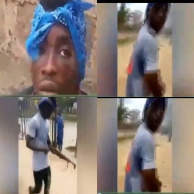 #EndSARS: Hoodlum who raided a police station and carted away a rifle has been arrested for armed robbery (video)