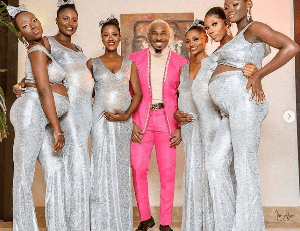 Pretty Mike attends Williams Uchemba's wedding with an entourage of heavily pregnant women (photo)