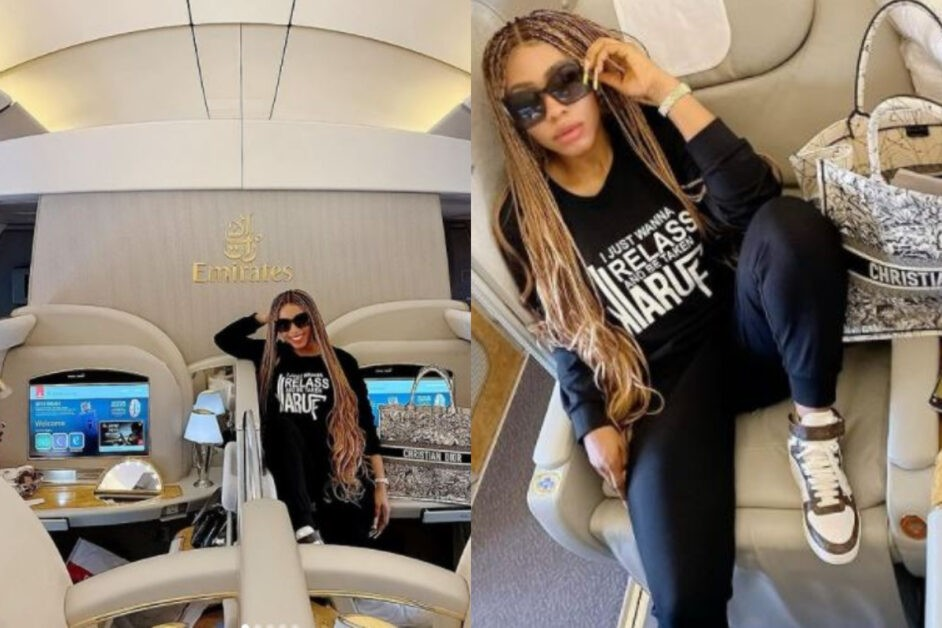 Mercy Breaks Internet With Photos Of Herself On Board Emirates First Class Airplane (Photos)