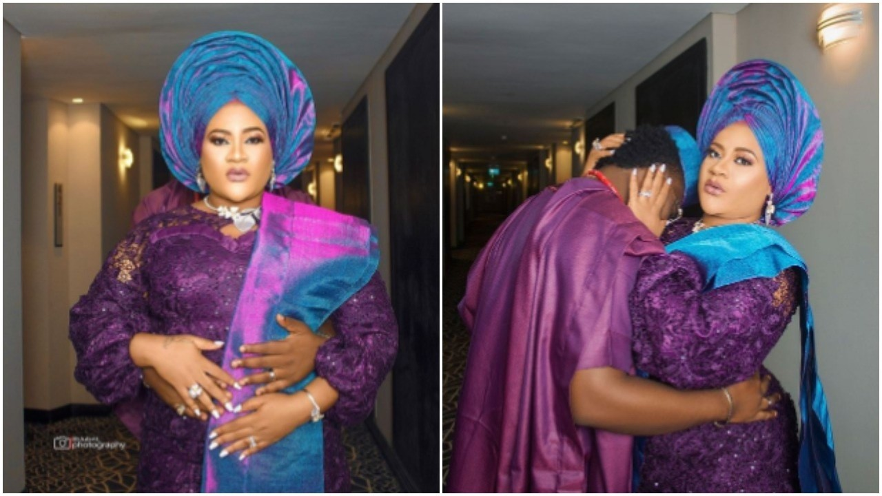 Nkechi Blessing queried by fans after hiding groom's face in wedding photos