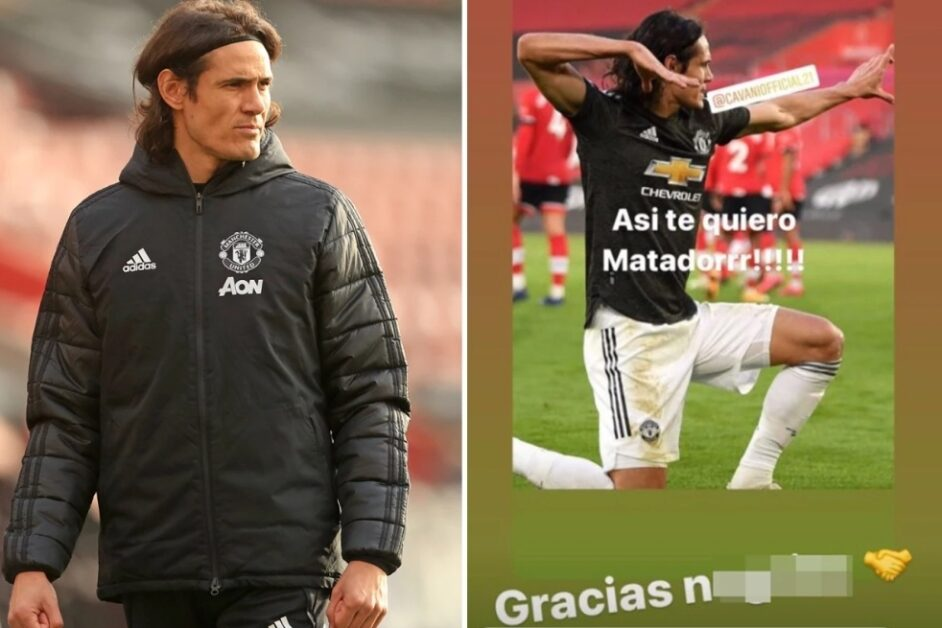 Manchester United striker, Edinson Cavani facing three-match ban for using racial term on Instagram