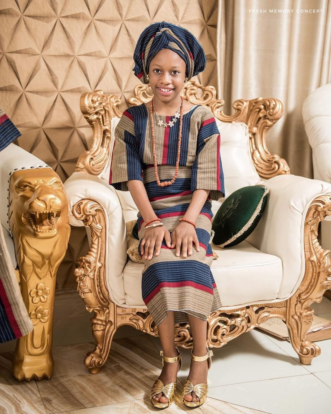 Alaafin of Oyo's wife Queen Folashade celebrates her triplets on 12th birthday (Pics)