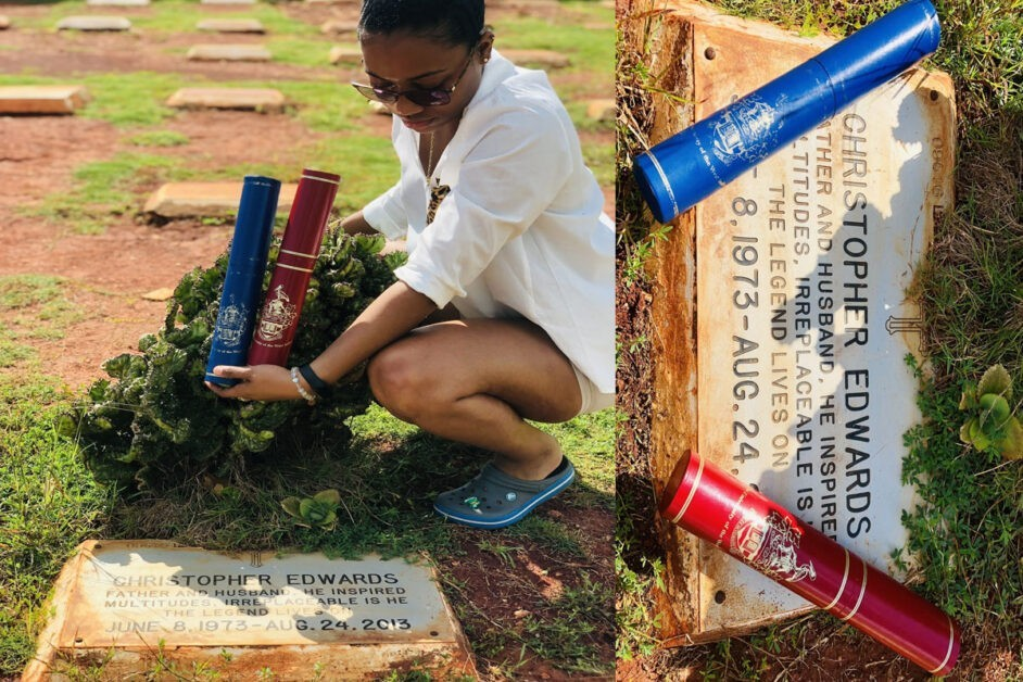 """I Did It Daddy"" – Lady Presents 2 Degrees She Bagged To Her Late Father At His Grave (PHOTOS)"