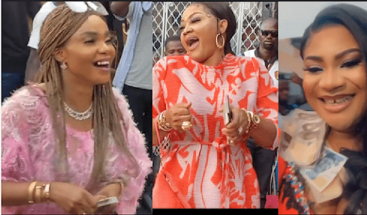 Moment Iyabo Ojo, Mercy Aigbe, Mompha Storms Nkechi Blessing Luxury Store Opening. (Video)
