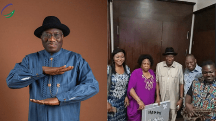 President Muhammadu Buhari Celebrates Goodluck Jonathan As He Receives 63rd Birthday Surprise From Family Photos.