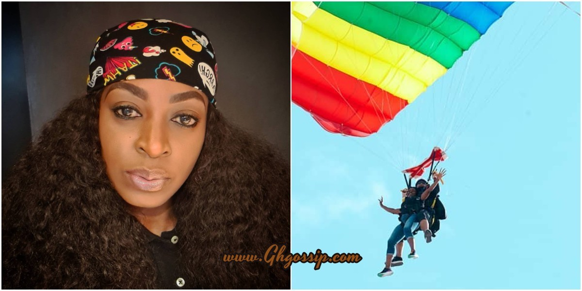 Photo: See The Moment Kate Henshaw Was Seen Paragliding In The Blue Skies Of Dubai