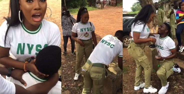 NYSC member pranks his girlfriend before proposing to her on their POP