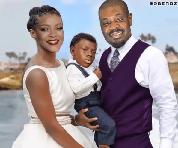"""Congrats! Beautiful Couple and Cute Baby' – Don Jazzy Finally Reveals The Face Of His """"Son And Wife"""" In Recent Post"""