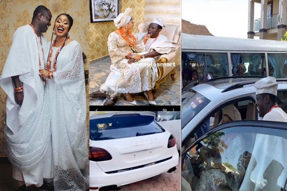 Tonto Dikeh's Ex, Malivelihood Gifts His New Wife, Deola Smart A Porsche Cayenne At Their Traditional Wedding (VIDEO)