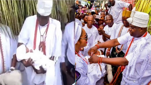 Moment Ooni Of Ife Meet His New Born Prince And The Mother Weeks After His Birth. (Video)