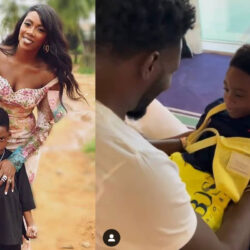 Emotional Moment As Tiwa Savage's Ex-husband, Teebillz Reunites With Their Son, Jamil (VIDEO)