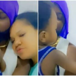 Watch the funny moment Ire Refuses to share his Father with his Mother Toyin Abraham  (Video)