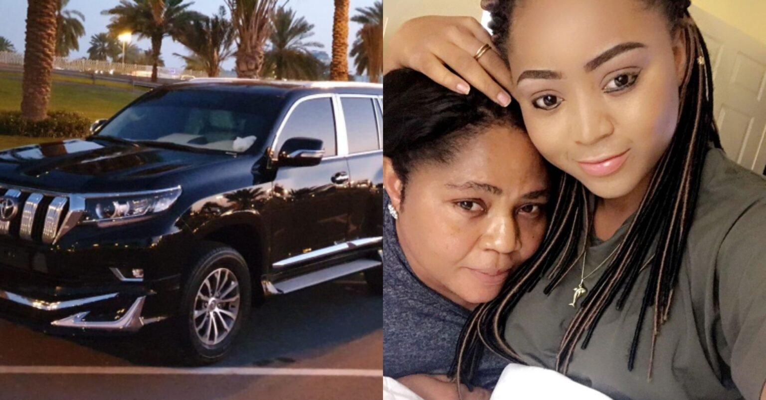 Regina Daniels mum, Rita sheds tears of joy as she receives Prado SUV as birthday present from her daughter (photos/video)