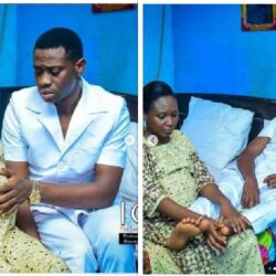 Actress Bimpe Oyebade Shares Pregnant Pictures Of Herself And Actor Lateef Adedimeji On Movie Set