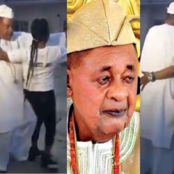 'This King Will Love Doggy' – Nigerians React As Alaafin of Oyo Shows Off His Dancing Skills With A Lady [VIDEO]