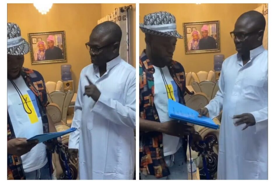 Popular nollywood actor Jamiu Azeez was presented a plot of land as gift at Ibeju lekki,he said 'now say hello to the latest land owner in the city of lagos'.