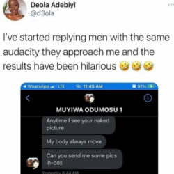 Woman shares her response to an audacious man who asked her for nudes