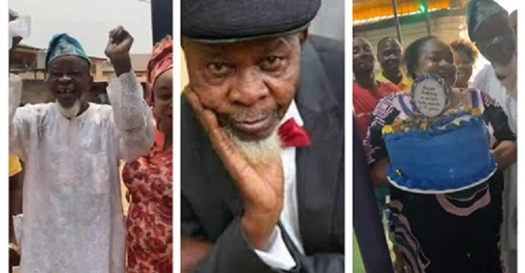 Veteran actor Agbako excited as Foluke Daramola celebrates him days after his 96th birthday (video)