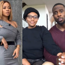 """Dont drag your wife to an uncomfortable apology. She wasn't called when you were cheating"""" Toke Makinwa reacts as Derrick Jackson admits to cheating"""