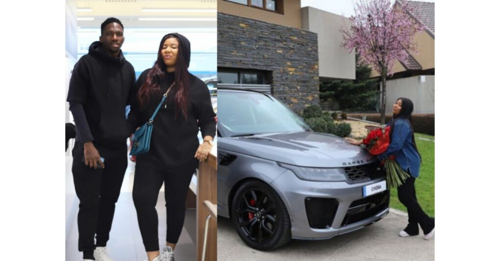 Nigerian Football Star Kenneth Omeruo gifts wife, Chioma, a Range Rover as a birthday gift (video)