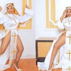 """""""This is disrespectful to the Christian faith""""- Fashion entrepreneur, Toyin Lawani, comes under heat for rocking a racy nun outfit to a movie premiere; She responds (photos)"""