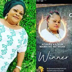 Congratulations Are In Order For Veteran Yoruba Actress Kudirat Soremi 'mama no network' As She won the Best Comedian Actress Of the Year At The DIYMA Awards (photo)