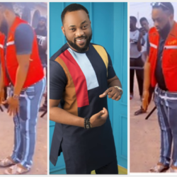 """Gbogbo Ara ti gan"" – Reactions As Yoruba Actor Damola Olatunji shows off a new dancing style on a movie set (video)"