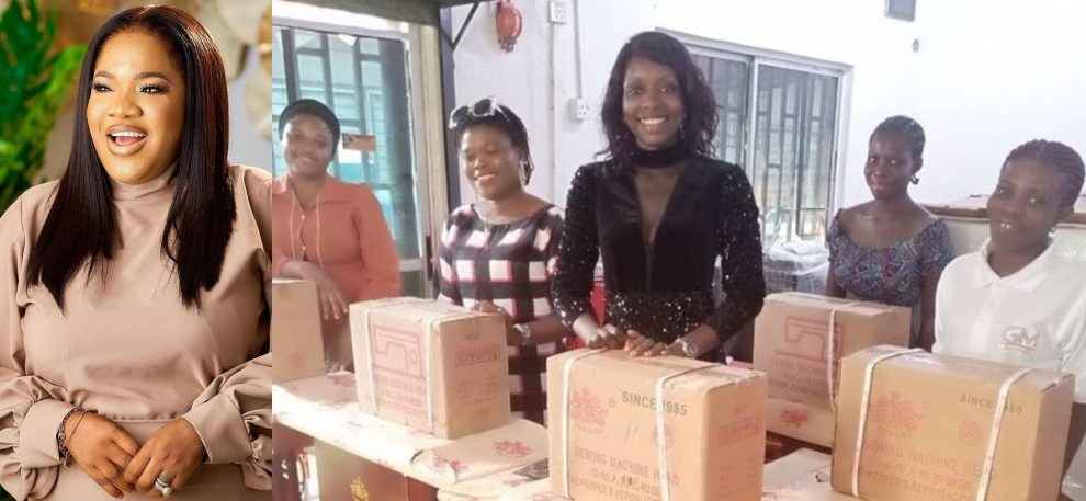 Actress Toyin Abraham Gives Out Sewing Machines to Her Fans (Video)