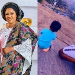 Reactions As Nollywood Actress Toyin Abraham's husband, Kolawole Ajeyemi spotted praying with their little son on the mountain (video)