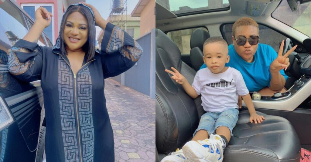 Na Here All My Money Dey Go – Nkechi Blessing Brags as She Steps out With Her Cute Son
