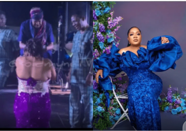 'Toyin and kneeling down na 5 & 6' -Reactions as Toyin Abraham pays respect to King Sunny Ade on stage (video)